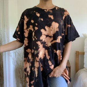 Black Bleached Tie Dye Fruit of the Loom T-Shirt